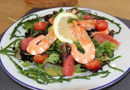 Salade de crevettes et salicorne